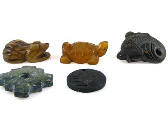 Gemstone Pendants Carved Animals Frog Turtle Fish Ying Yang Large Stone Focal Beads Jasper Jade Obsidian Lot of 5