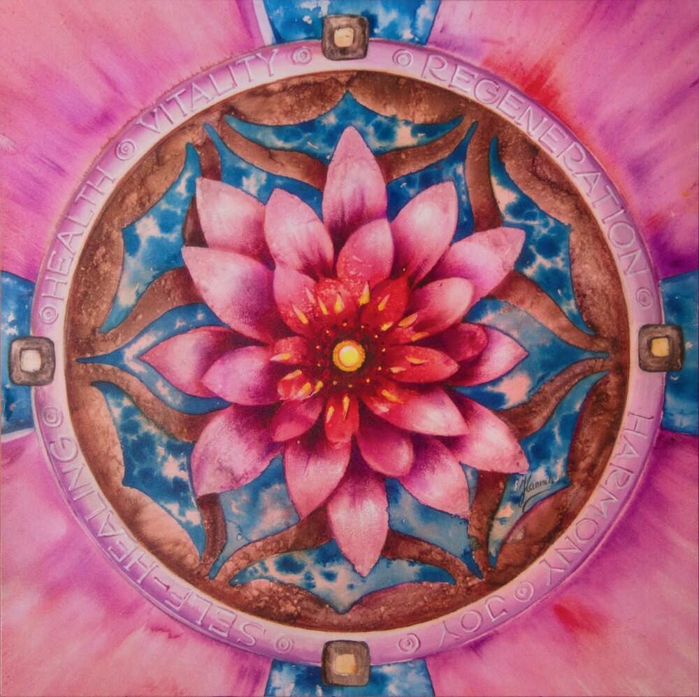Mandala health pink lotus flower healing regeneration vitality for Cuadros mandalas feng shui decoracion mandalas