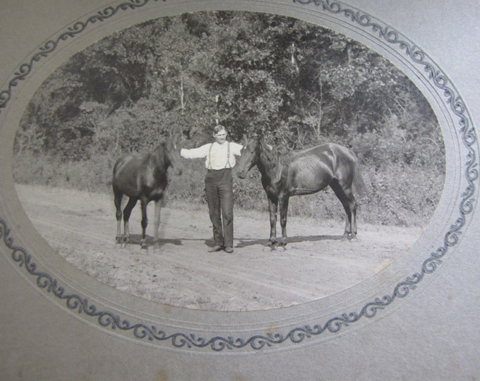 Vintage Black and White Photography Horses and Man Picture