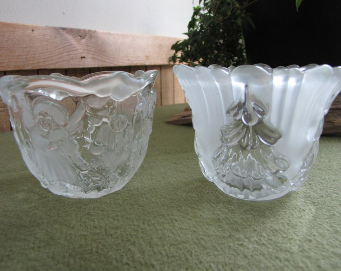 Vintage Mikasa Christmas  Candle Holders (2) Angels with Instruments and Christmas Trees