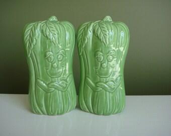 SALE-Vintage Salt and Pepper Shakers - Celery Stalks - Made in Japan