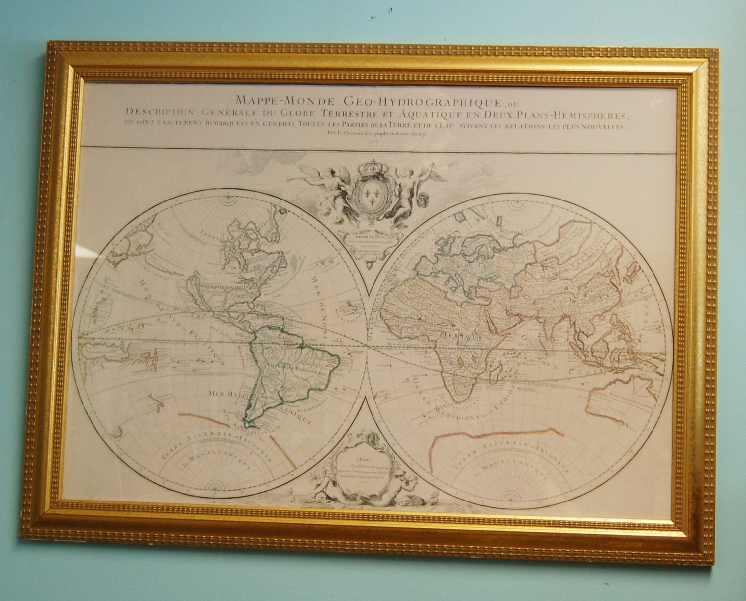 Large Framed World Map Nautical Chart in French Gold Frame