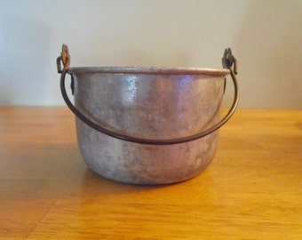 Cooking Pot Aluminum Metal by Buckeye Aluminum Co, 6 1/2 inch Pot Shabby Chic Farmhouse Style, Vintage Antique Cookware Circa 1910-1950s