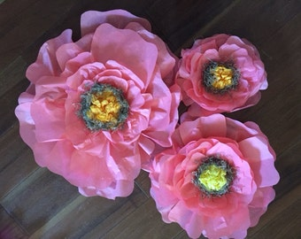 Tissue Flowers set of three