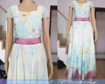 butterfly flower long dress spring summer maxi dress women clothing women dress short sleeve dress beach dress chiffon long dress