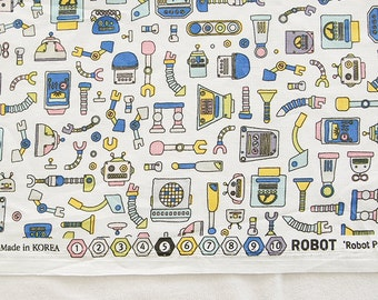 Cute Robot Pattern Cotton Fabric Ivory by Yard