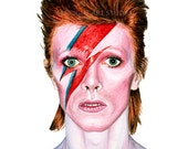 David Bowie Watercolor Illustration - Ziggy Stardust Painting Giclee Art Print