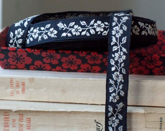 Vintage black woven jacquard cotton ribbon with silk embroidered white florals