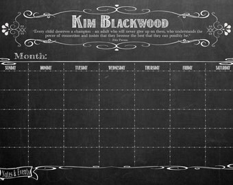24 x 36 smooth black wood frame dry erase chalkboard look office calendar personalized and framed