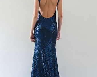 Short-Sleeve Sequin Gown - SAMPLE