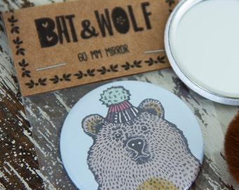 Illustrated Bear In Hat Pocket Mirror