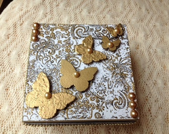 Hand Decorated Gift Box-Gold Embossed Butterflies-5 in.