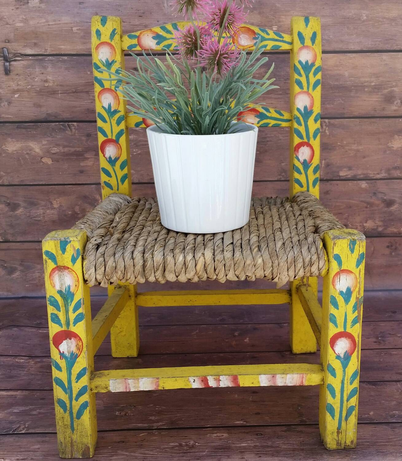 Small Wood And Wicker Doll Chair Hand Painted Folk Art Mexican