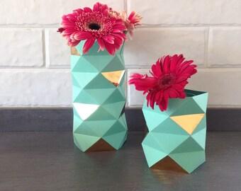 Origami Vase Mint / Paper Cover