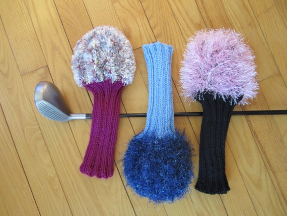 Knitting Patterns For Golf Club Headcovers : Fuzzy Knit Handmade Golf Club Head Covers by ...