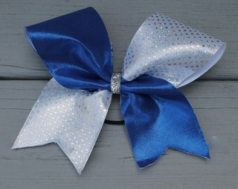 Blue and Silver Holographic Bow