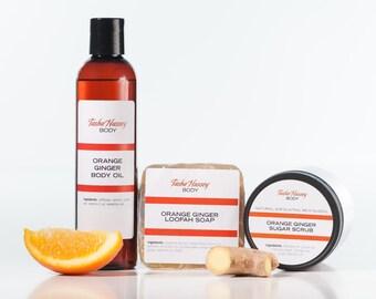 Orange Ginger Gift Set, Loofah Soap,Sugar Scrub, Body Oil