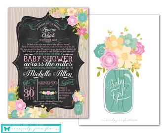 Long Distance Baby Shower Invitation & Facebook Event Banner Set - chalkboard, printable, diy, pink, mint, rustic, Design 118 + 118FB