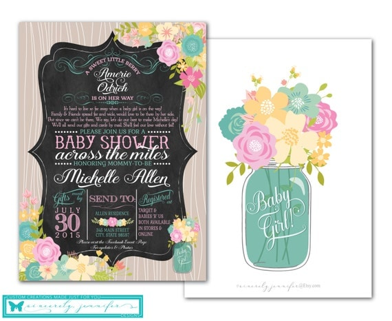 Long Distance Baby Shower Invitation U0026 Facebook Event Banner Set    Chalkboard, Printable, Diy