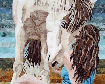 "Horse Textile Art ""Roxy et Bea"""
