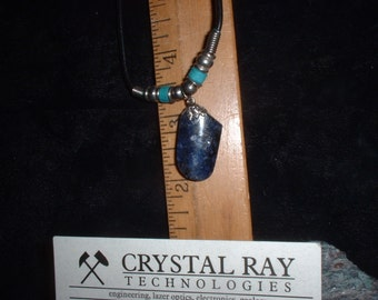 Dark Blue Ontarian Sodalite on Black Leather necklace