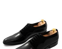 Black Cow Leather Oxford Style Shoes