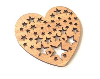Design-3 Wood coaster, wooden coaster, wood coaster set, heart, stars, housewarming gift, wedding favor, drink coaster, tableware, wood art