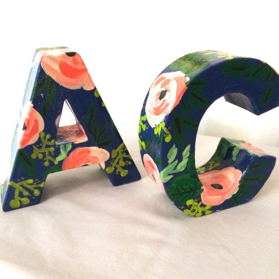 Hand painted letters in navy floral monogram