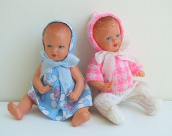 TWO vintage baby dolls, E.S. West Germany dollhouse baby dolls, moveable arms, legs, hard plastic ca 1950's