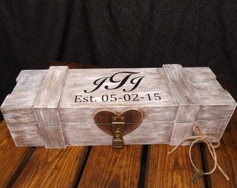 Recently Featured on NBC Ch. 11 Personalized Aged White Wedding Wine Box, Wedding Wine Capsule, Wedding Wine Box Gift, Keepsake Wine Box