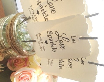 10 Personalised Wedding Sparkler tags covers vintage shabby chic