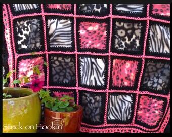 Pink and Wild Patchwork Fleece Blanket
