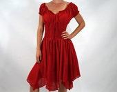 PETAL DRESS - Zootzu Renaissance Festival Dress, Medieval Dress, Gypsy Dress, Pirate Dress, Boho, Peasant Dress, Gown Steampunk Dress - Red