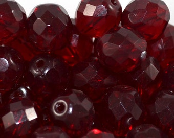 Czech firepolished / faceted glass beads 12mm Garnet (5)