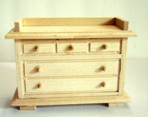 Dollhouse Kitchen Buffet Unfinished Pine Furniture Dollhouse Scale 1:12