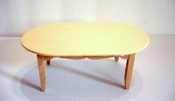 Dollhouse Oval Table Furniture Unfinished Wood Pine Miniatures 1:12 ...