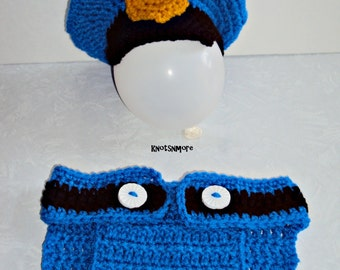 Crochet Police Hat and Diaper Cover Photo Prop, Baby Boy Police Set
