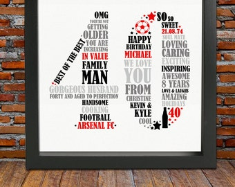 Personalized 40th Birthday Gift for Him - 40th birthday, 40th birthday gift, 40th birthday gift for man, personalized birthday print