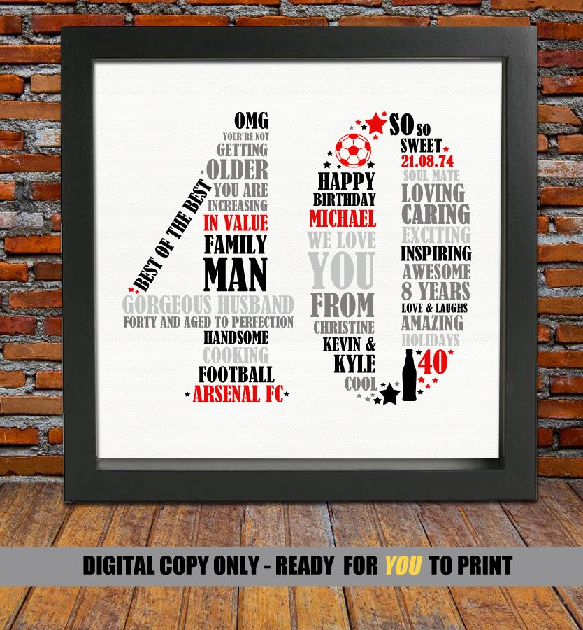 Funny 40th Birthday Gifts Presents For: Personalized 40th Birthday Gift For Him 40th Birthday 40th