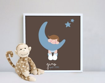 Baby Boy Newborn Gift Wall Art Baby Room Home Decor Personalized Velvet Paper