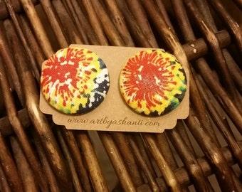 Full bloom fabric button earrings