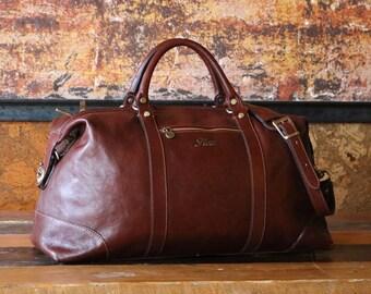 """Leather Cabin Bag 22"""" / Floto 142180 Brown Travel Bag / Leather Sports Bag / Gym Bag / Duffle Bag / Weekender  / Overnight Bag / Leather Bag"""