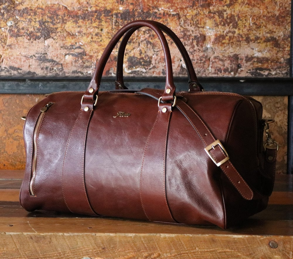 Leather Duffle Bag 21 / Floto 141217 Brown / Travel Bag /