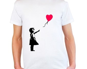 Mens & Womens T-Shirt with Banksy Girl with Heart Balloon / Lonely Girl on Shirts / Romantic Love Tee Shirt + Free Random Decal Gift