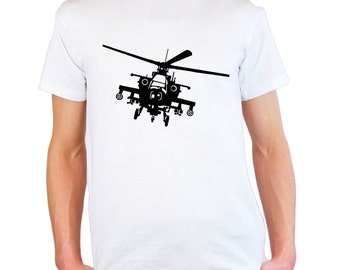Mens & Womens T-Shirt with Army Helicopter Design / War Machine with Guns Shirts / Military Flying Plane Copter Shirt + Free Decal Gift