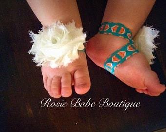 White flower with fox barefoot sandal