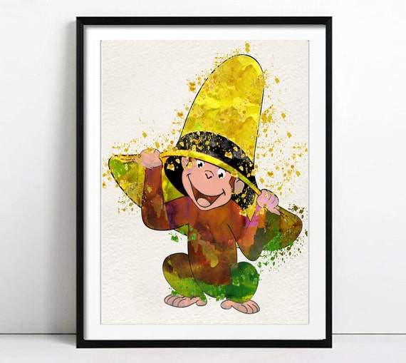 Watercolor curious george art curious george by lacotedesign for Curious george wall mural