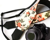 InTePro Camera Strap with pocket. Damask Roses Camera Strap. Camera accessories. Photographer gift.