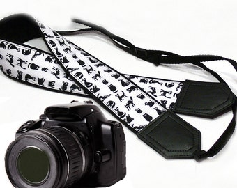 Cat camera strap. Black and white. Pets. DSLR / SLR Camera Strap. Camera accessories by InTePro
