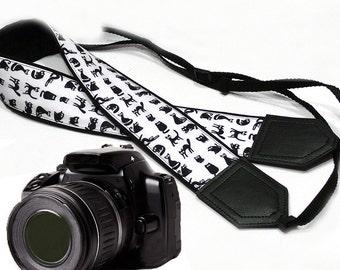 InTePro Cat camera strap. Black and white. DSLR / SLR Camera Strap. Camera accessories.